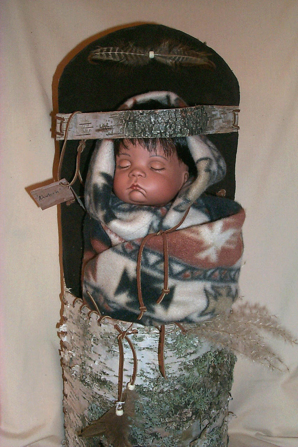Native American Papoose In A Birch Bark Basket Carrier